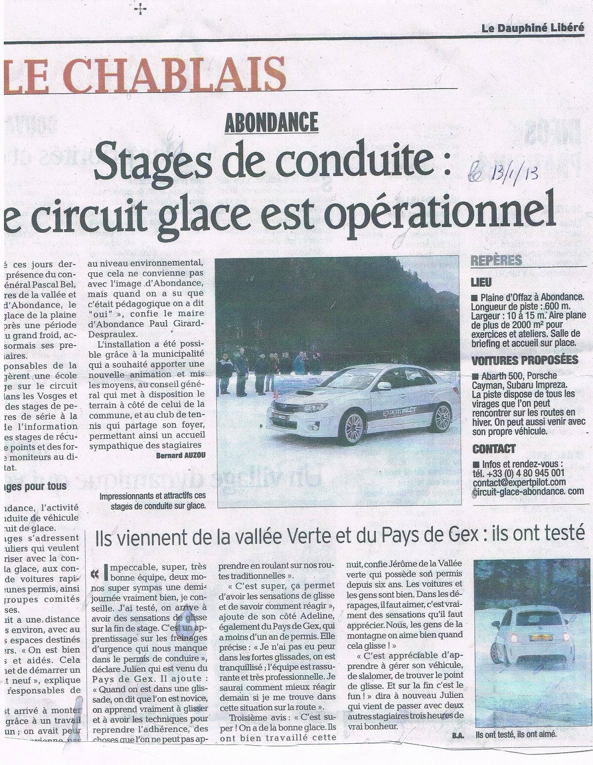 article inauguration circuit glace abondance